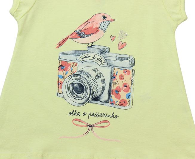 Camiseta Amarela Câmera + Passarinho Pulla Bulla