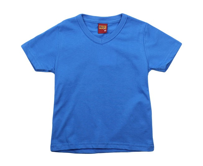 Camiseta Azul Básica Gola V Kyly