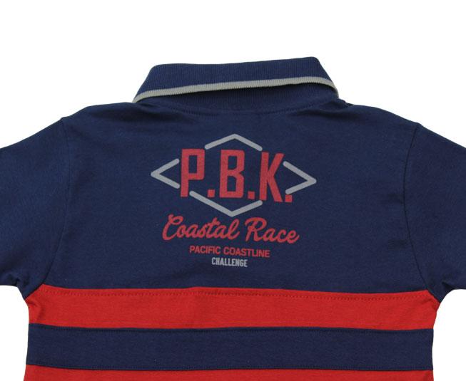 "Camiseta Azul Escura Gola + Botões ""P.B.K Coastal Rage"" Pulla Bulla"