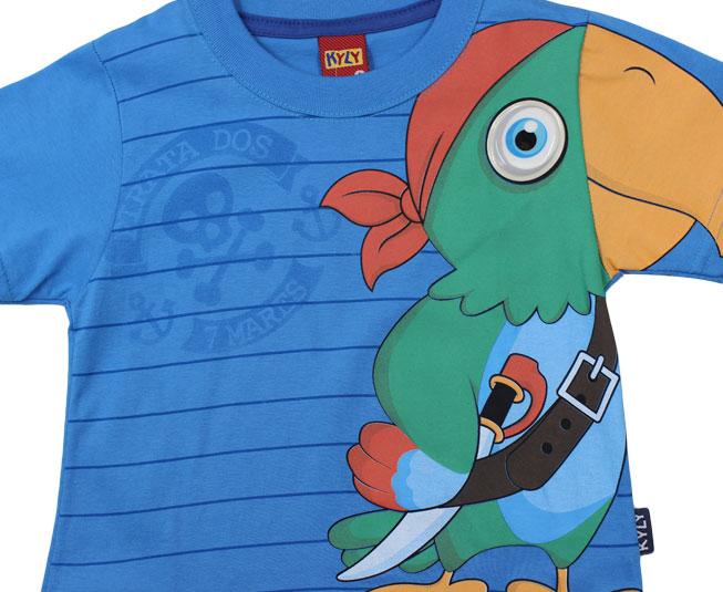 Camiseta Azul Papagaio Pirata Kyly