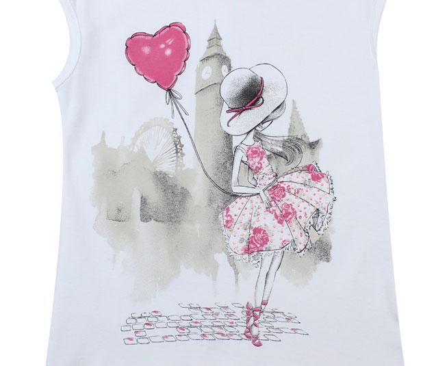 Camiseta Branca Balão Rosa Pulla Bulla