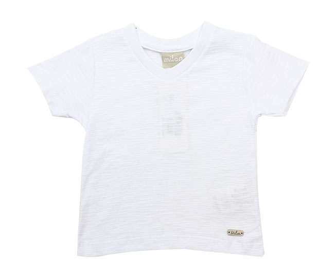 ... Camiseta Branca Básica Lisa Gola V Milon - Criança e Bebê ... 6aac04a9c44