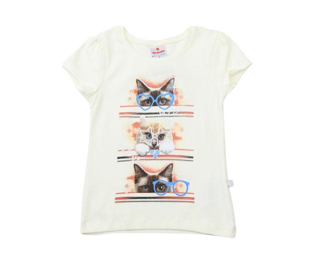 Camiseta Creme com Estampa de Gatinhos Brandili