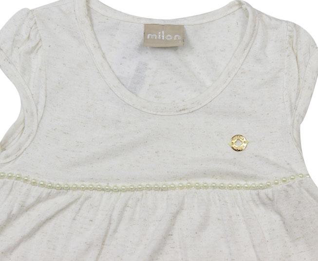 Camiseta Creme Enfeite de Pérolas Bijuteria Milon