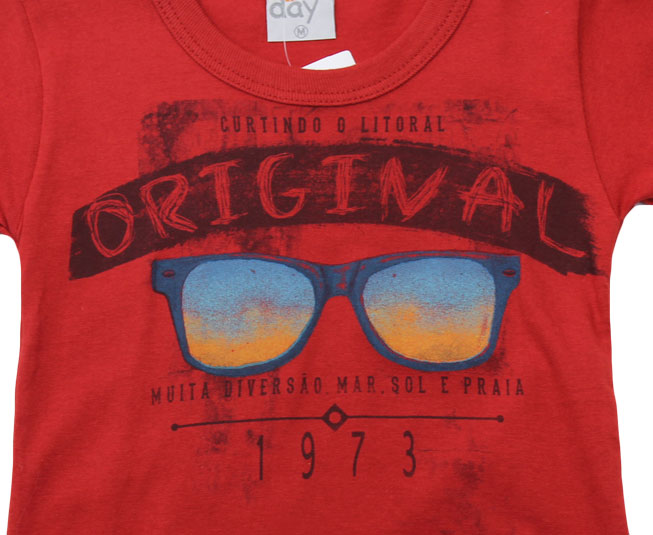 """Camiseta """"Curtindo o Litoral"""" Vermelha Kaiani"""