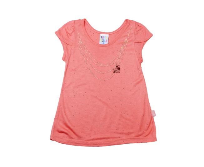 Camiseta Detalhes de Bijuteria + Coração Cor Terracota Pulla Bulla
