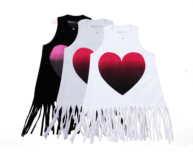 Camiseta Regata Feminina Infantil Desfiada Coração MiniLab