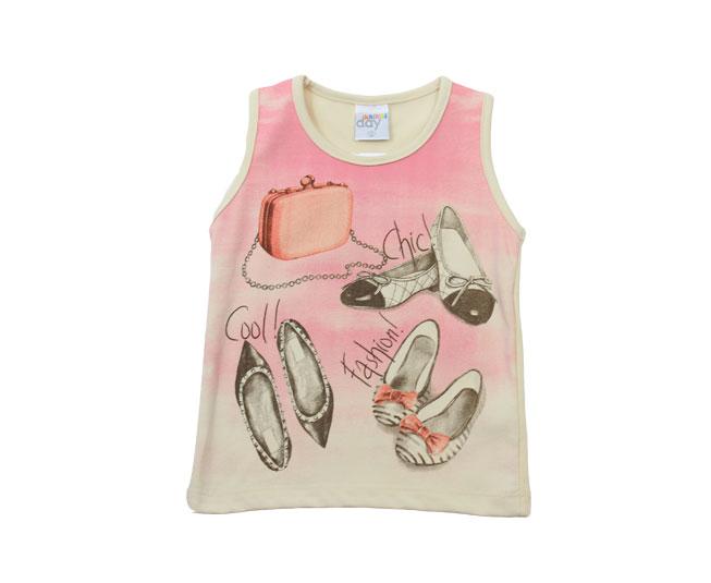 Camiseta Feminina Regata com Detalhe de Calçados  Rosa
