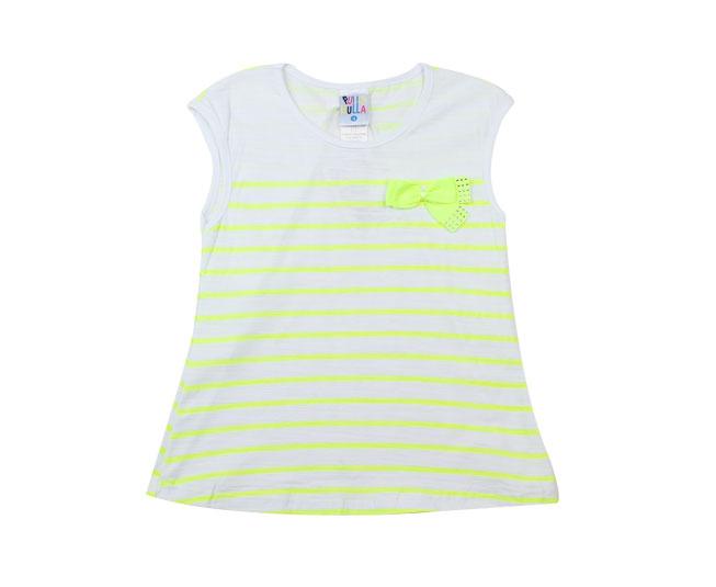 Camiseta Feminina Regata Listrada com Lacinho Cor Branca  Pulla Bulla