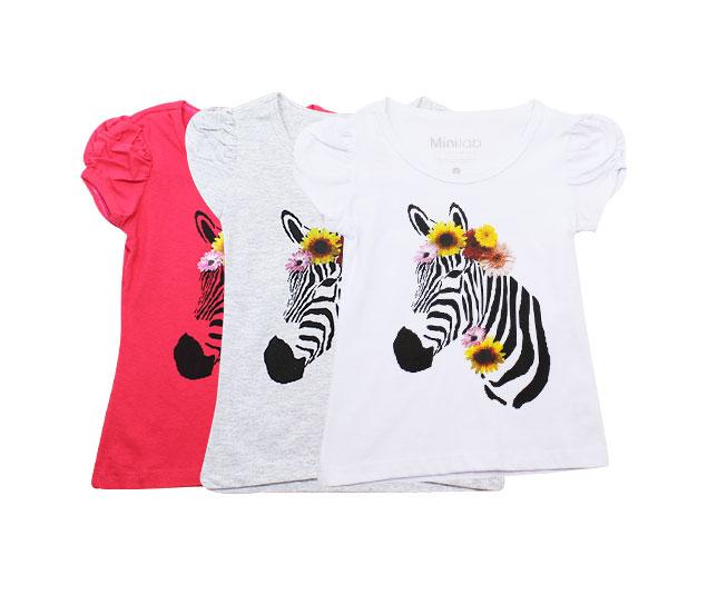 Camiseta Infantil Feminina Zebra om Flores Minilab