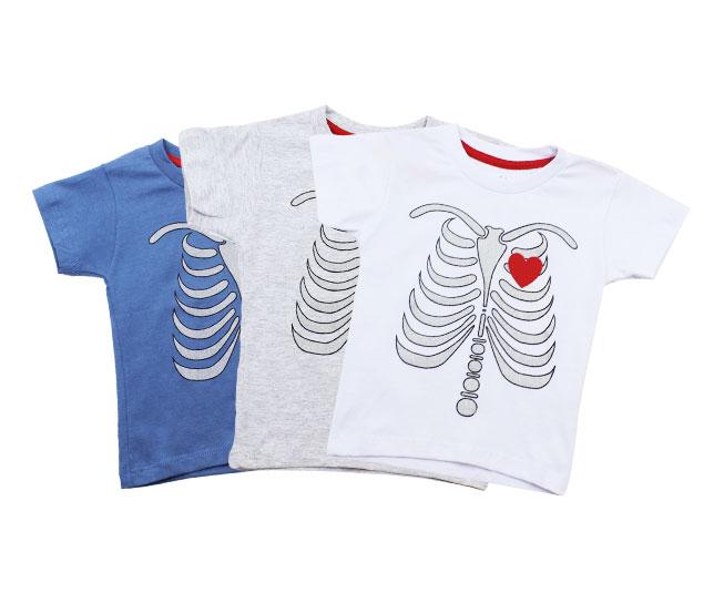 Camiseta Infantil Masculino Esqueleto Coração Minilab