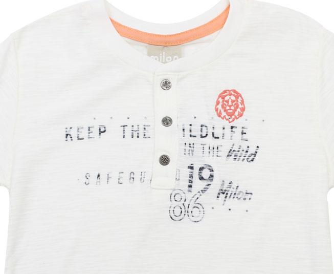 """Camiseta """"Keep The Wild Life"""" com Botões Milon"""