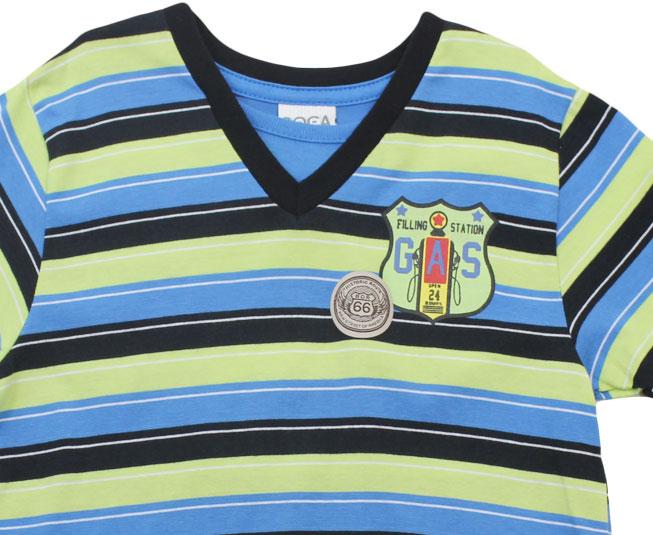 Camiseta Listrada Verde/Azul Boca Grande