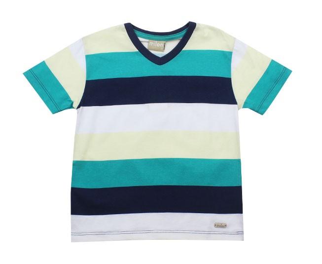 Camiseta Listrada Verde com Azul Marinho Gola V Milon