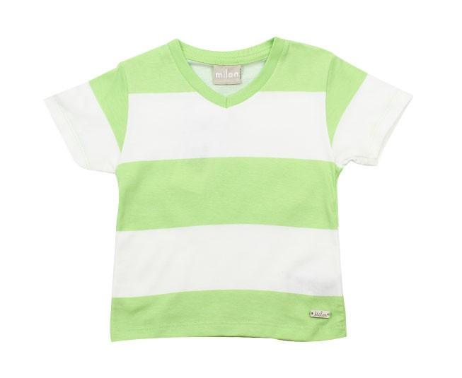 Camiseta Listrada Verde Gola V Milon