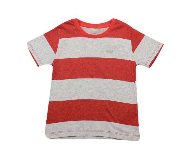 Camiseta Listrada Vermelho/Branco Milon