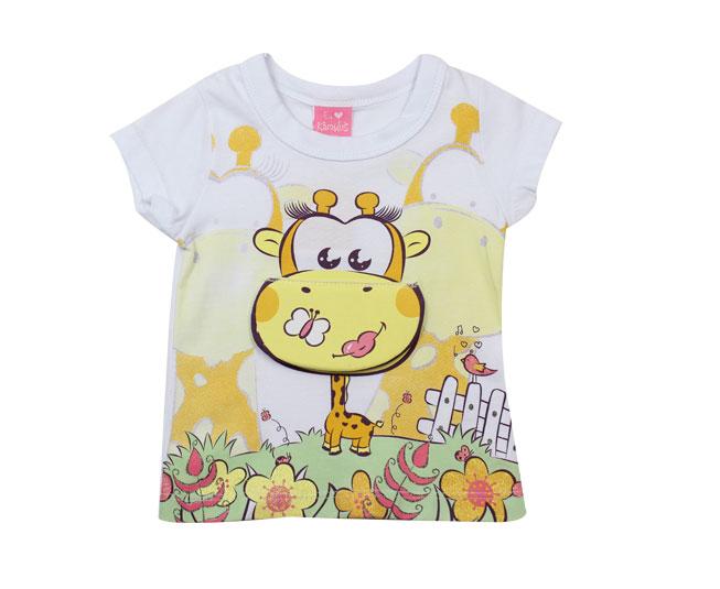 Camiseta Manga Curta Girafinha Feliz kamylus