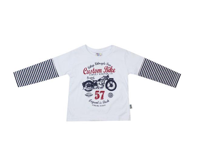 Camiseta Manga Longa Estampa de Moto Custom Bike Pulla Bulla