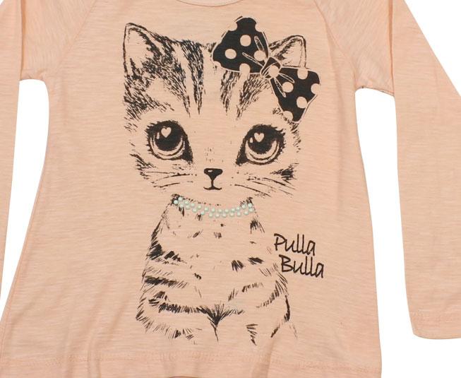Camiseta Manga Longa Feminina Gatinho Pulla Bula