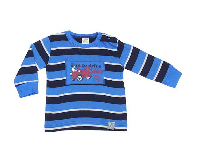 Camiseta Manga Longa Listrada Azul