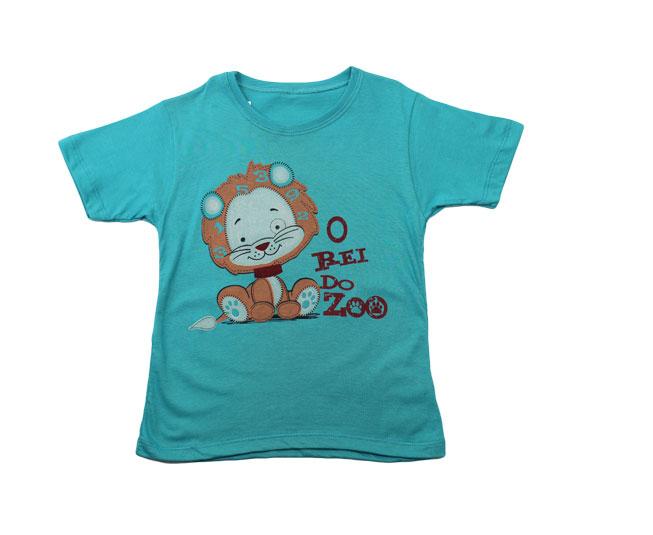 "Camiseta Masculina de Leãozinho ""Rei do Zoo"" Azul Petróleo Kaiani"
