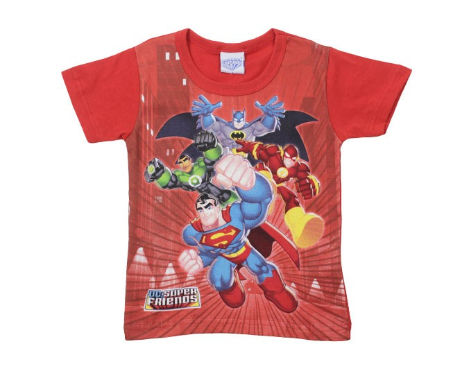 Camiseta Masculina Vermelha Estampada Super Amigos Brandili