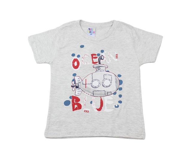"Camiseta ""Ocean Blue"" Cinza Pulla Bulla"