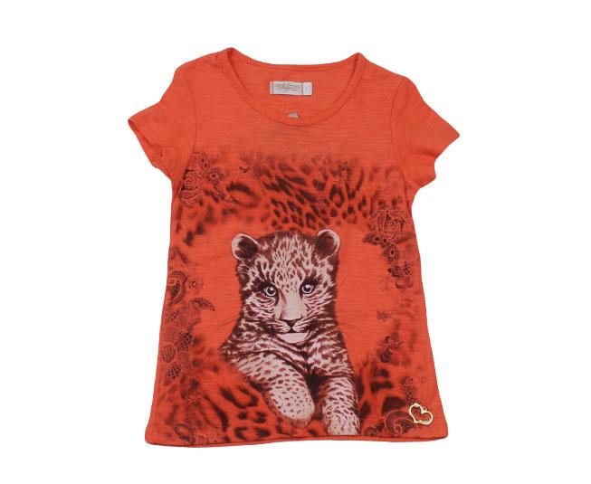 Camiseta Oncinha Filhote Laranja Carinhoso