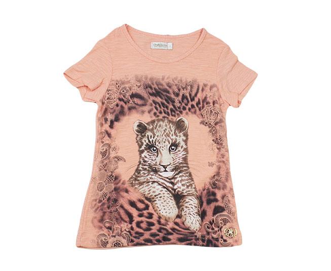 Camiseta Oncinha Filhote Rosa Carinhoso
