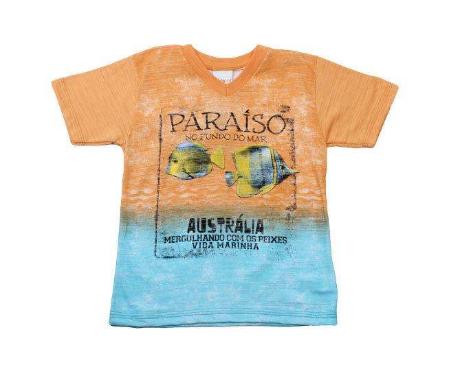 "Camiseta ""Paraíso no Fundo do Mar"" Laranja Kaiani"