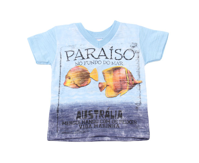 "Camiseta ""Paraíso no Fundo do Mar"" Azul Kaiani"