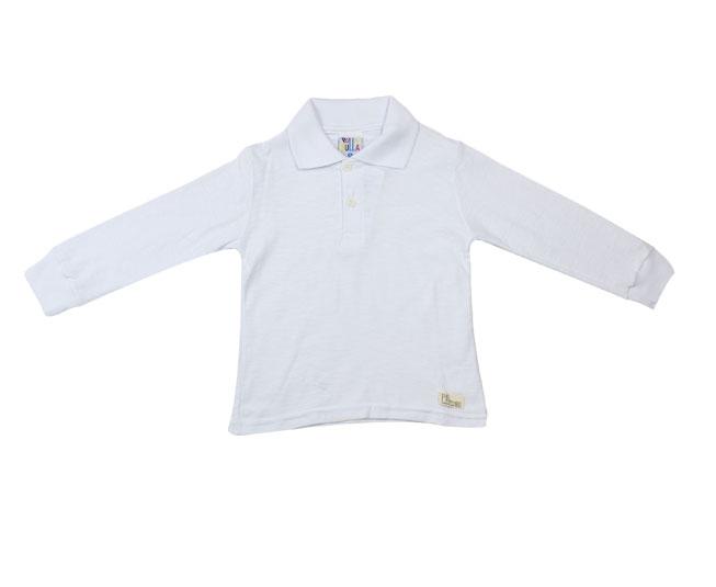 Camiseta Polo Manga Longa Branca