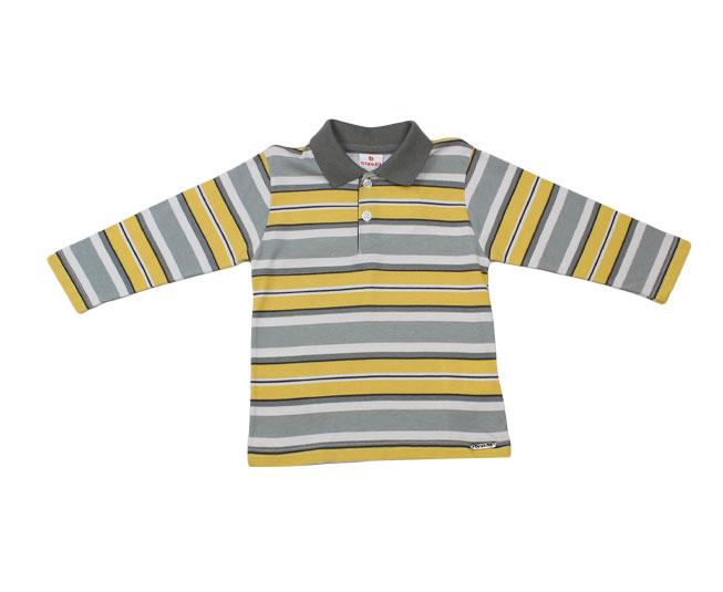 Camiseta Polo Manga Longa Listrado Cinza / Amarelo Brandili
