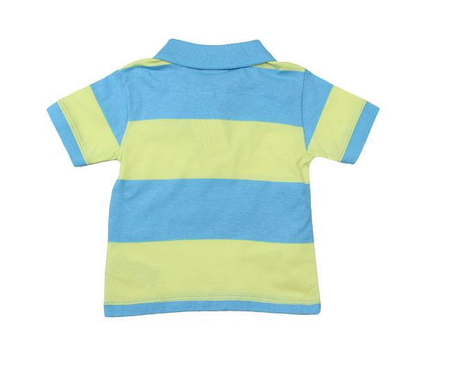 Camiseta Polo Milon Azul / Verde Limão