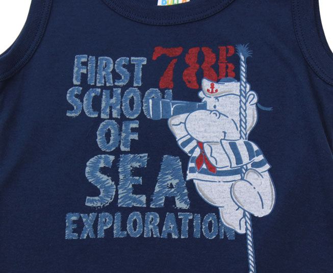 "Camiseta Regata Azul Escuro ""First School of Sea"" Pulla Bulla"