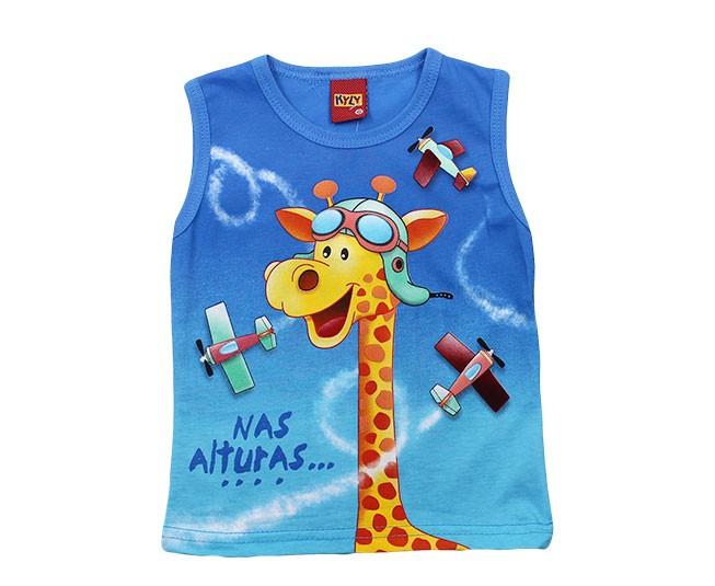 Camiseta Regata Azul Girafa