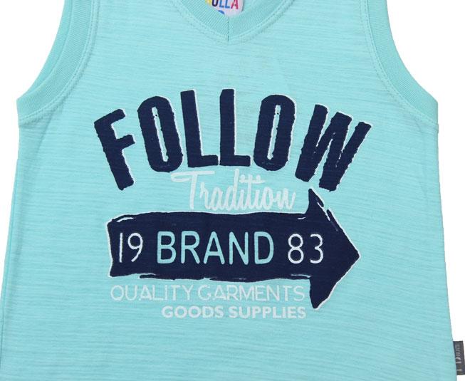 "Camiseta Regata Azul Marinho ""FOLLOW"" Pulla Bulla"