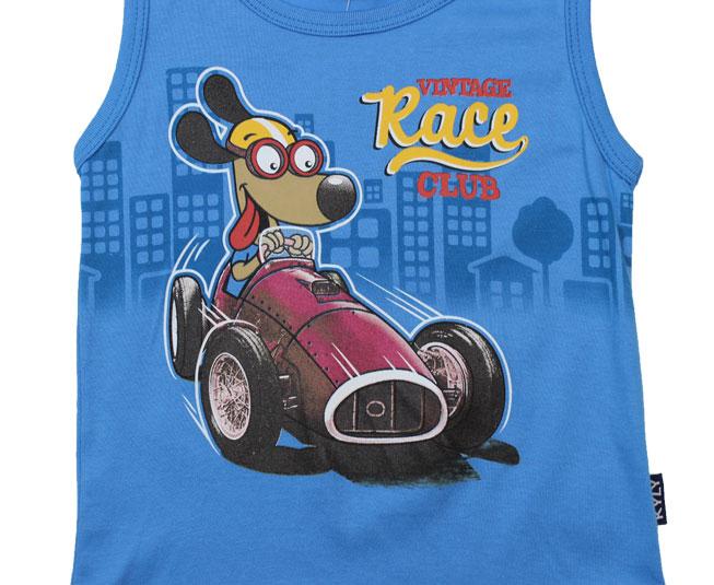 Camiseta Regata Azul Vintage Race Cachorrinho Kyly