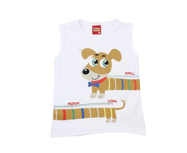 Camiseta Regata Branca Cachorrinho Kyly