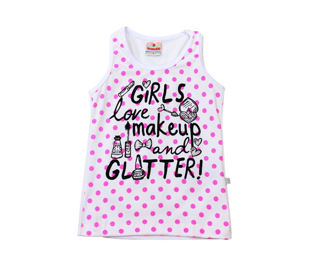 Camiseta Regata Feminina Girls Love Makeup And Gliter Brandili