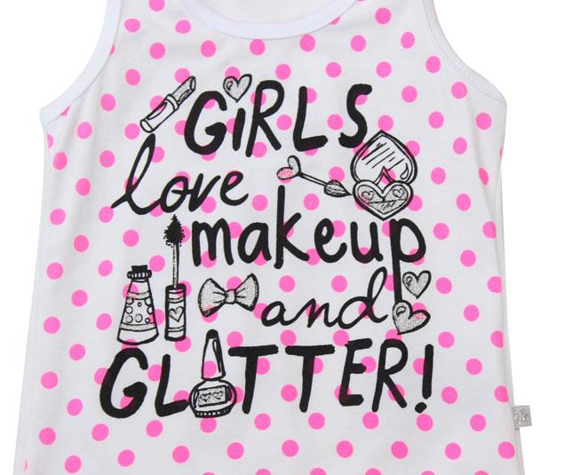 Camiseta Regata Feminina Girls Love Makeup And Gliter Brandili
