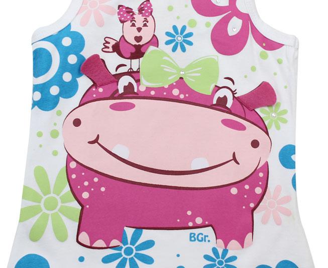 Camiseta Regata Branca Hipopótamo Boca Grande