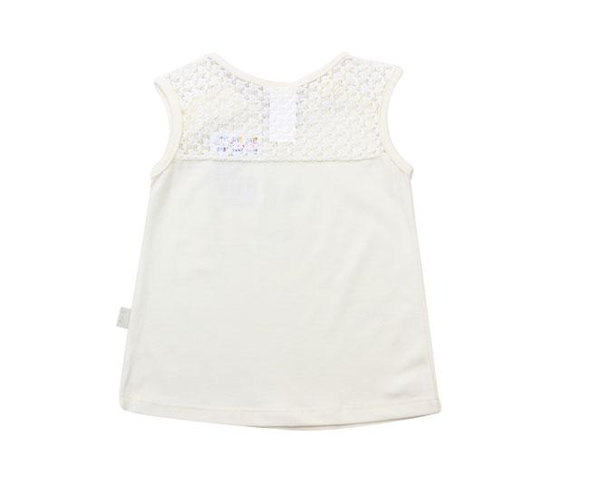 Camiseta Regata Creme com Renda  Pulla Bulla