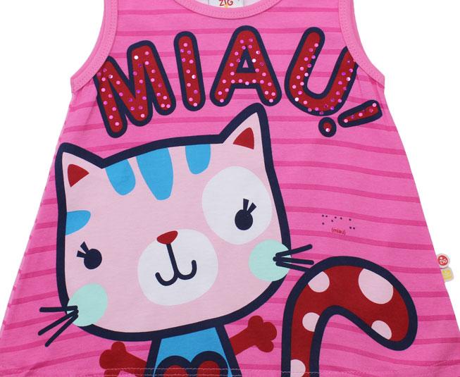 "Camiseta Regata de Gatinho ""Miau!!"" Zig Zig Zaa"