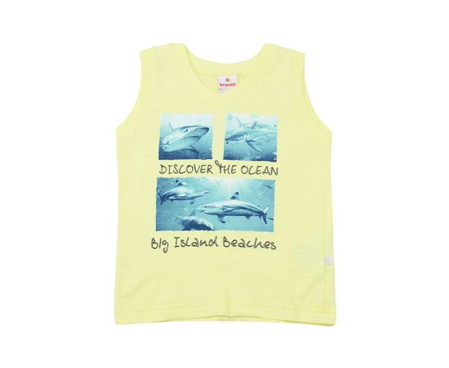 """Camiseta Regata """"Discover the Ocean""""  Amarela Brandili"""