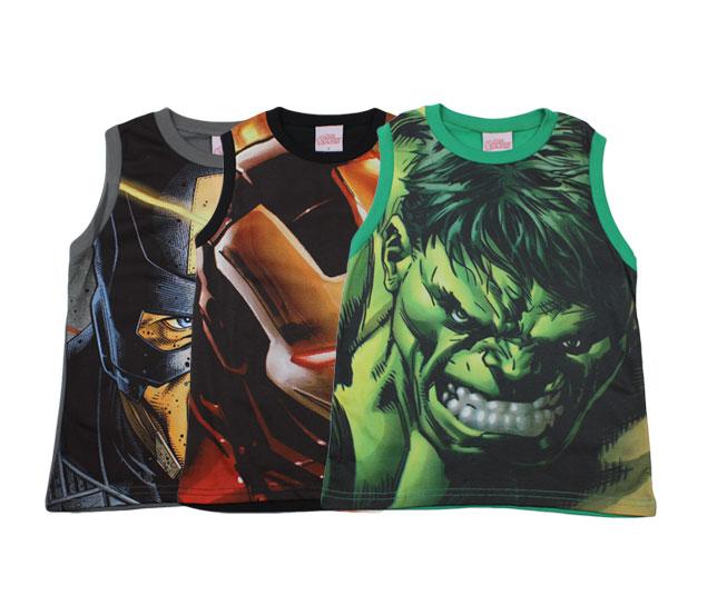 Camiseta Masculina Regata Heróis Marvel Brandili