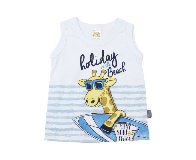 "Camiseta Regata ""Holiday on the beach""  Branca Pulla Bulla"