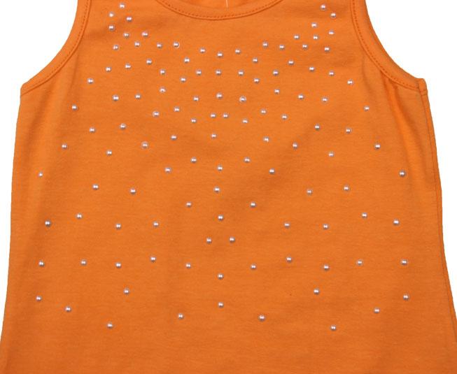 Camiseta Regata Laranja com Detalhes de Perolas Pulla Bulla