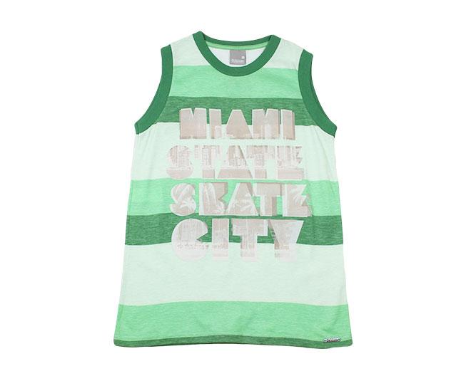 Camiseta Regata Listrada Verde Carinhoso