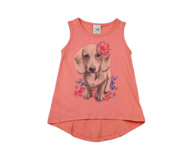 Camiseta Regata Rosa Malwee de Cachorrinho Com Flores